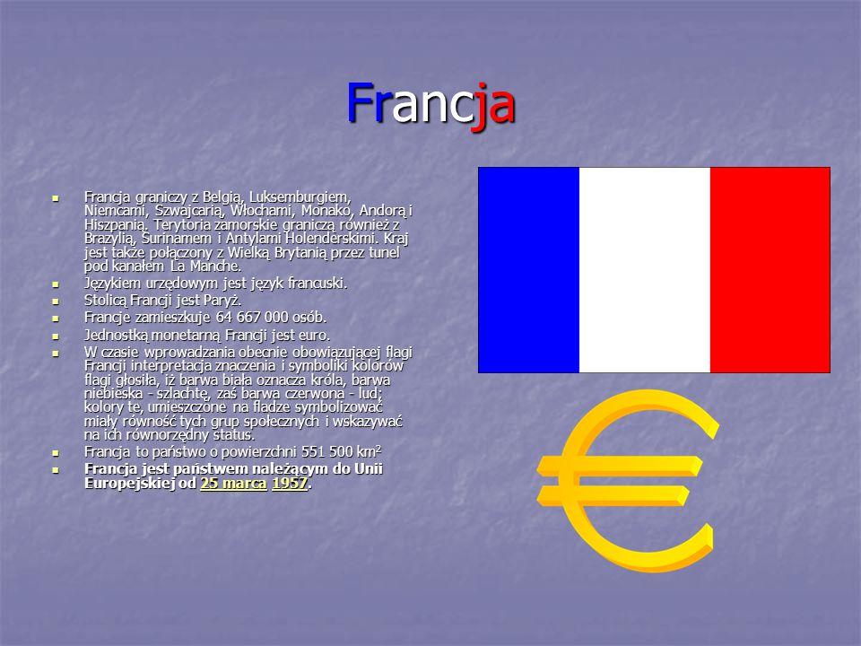 Francja Francja graniczy z Belgią, Luksemburgiem, Niemcami, Szwajcarią, Włochami, Monako, Andorą i Hiszpanią. Terytoria zamorskie graniczą również z B