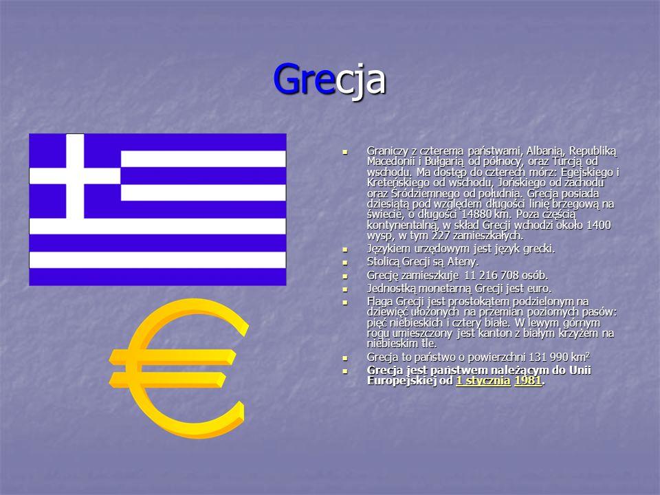 Grecja Graniczy z czterema państwami, Albanią, Republiką Macedonii i Bułgarią od północy, oraz Turcją od wschodu. Ma dostęp do czterech mórz: Egejskie