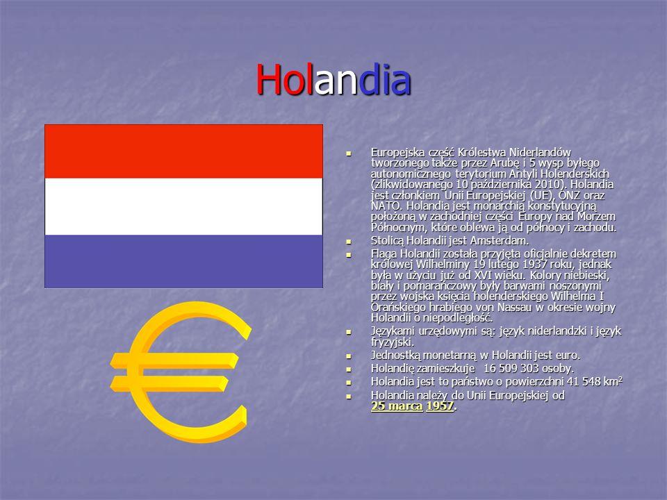 Holandia Europejska część Królestwa Niderlandów tworzonego także przez Arubę i 5 wysp byłego autonomicznego terytorium Antyli Holenderskich (zlikwidow