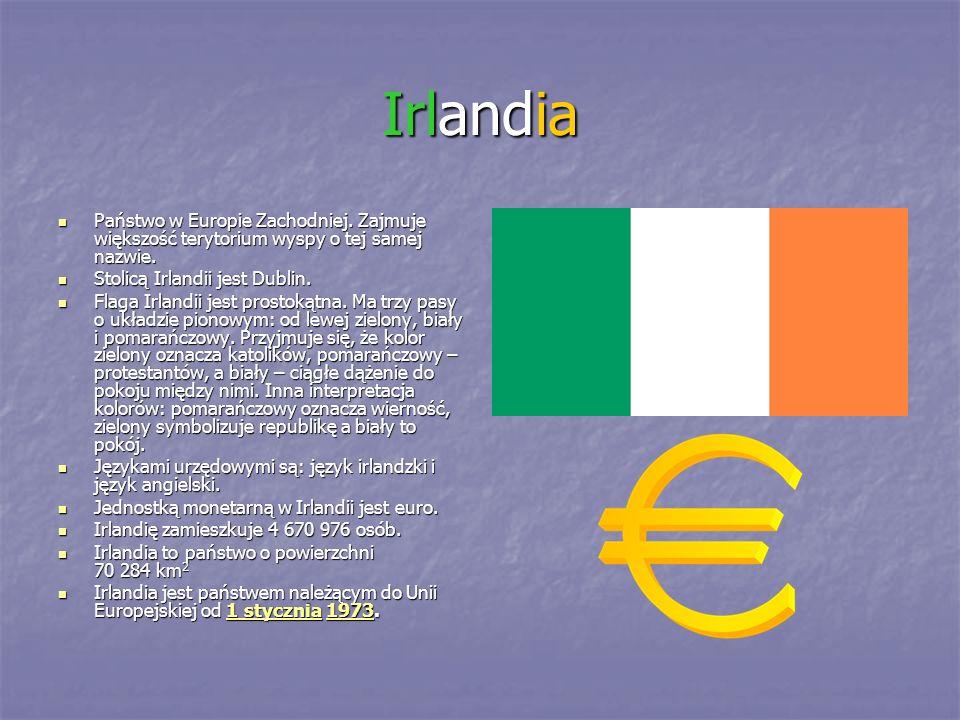 Irlandia Państwo w Europie Zachodniej. Zajmuje większość terytorium wyspy o tej samej nazwie. Państwo w Europie Zachodniej. Zajmuje większość terytori