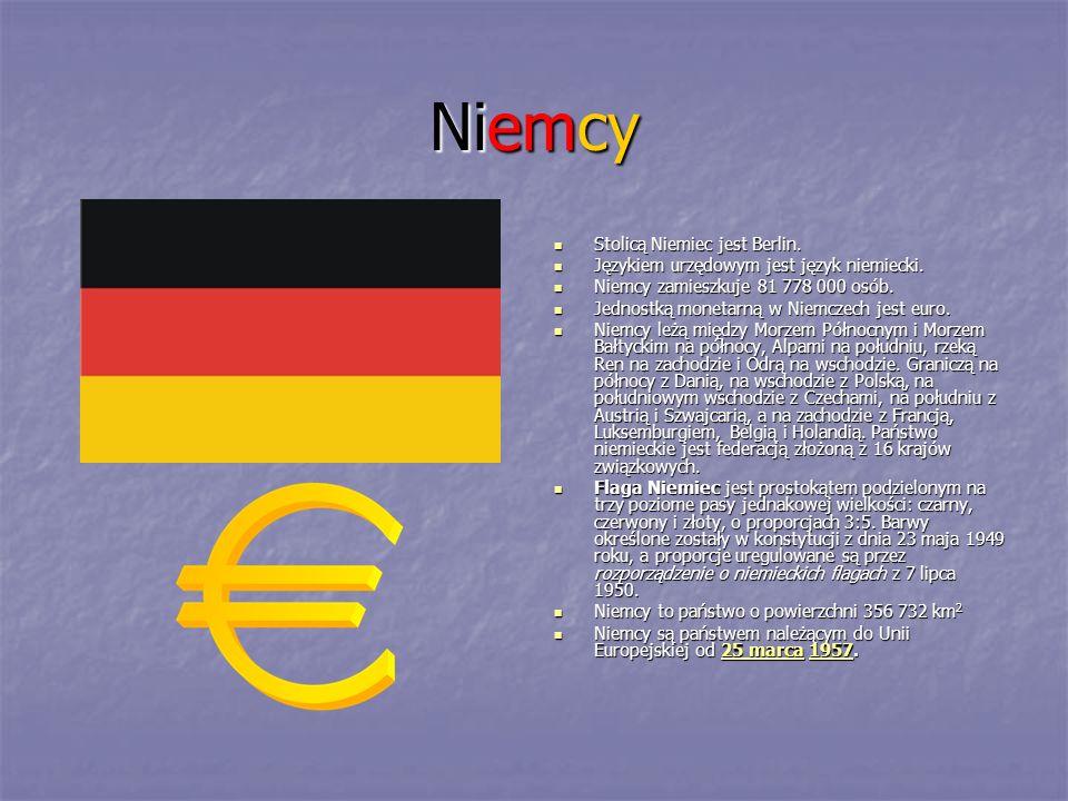 Niemcy Stolicą Niemiec jest Berlin. Językiem urzędowym jest język niemiecki. Niemcy zamieszkuje 81 778 000 osób. Jednostką monetarną w Niemczech jest