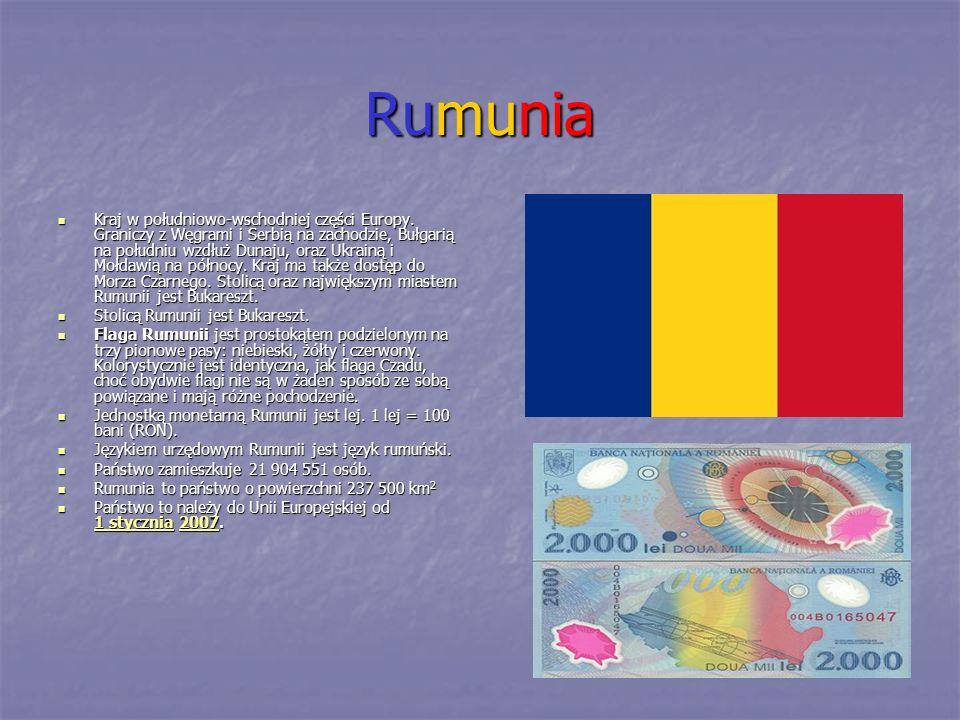 Rumunia Kraj w południowo-wschodniej części Europy. Graniczy z Węgrami i Serbią na zachodzie, Bułgarią na południu wzdłuż Dunaju, oraz Ukrainą i Mołda