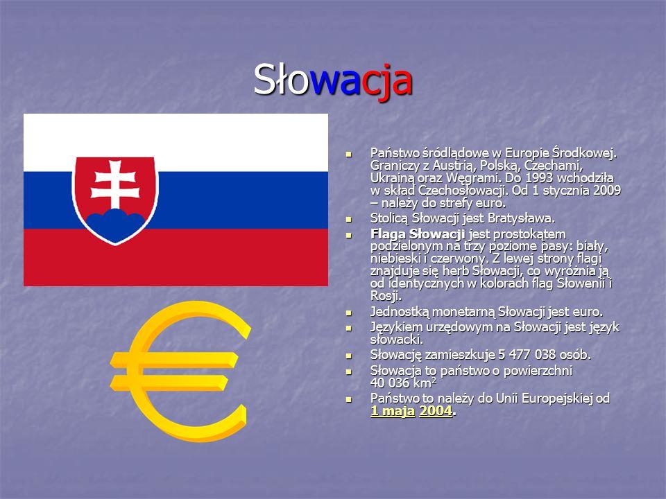 Słowacja Państwo śródlądowe w Europie Środkowej. Graniczy z Austrią, Polską, Czechami, Ukrainą oraz Węgrami. Do 1993 wchodziła w skład Czechosłowacji.
