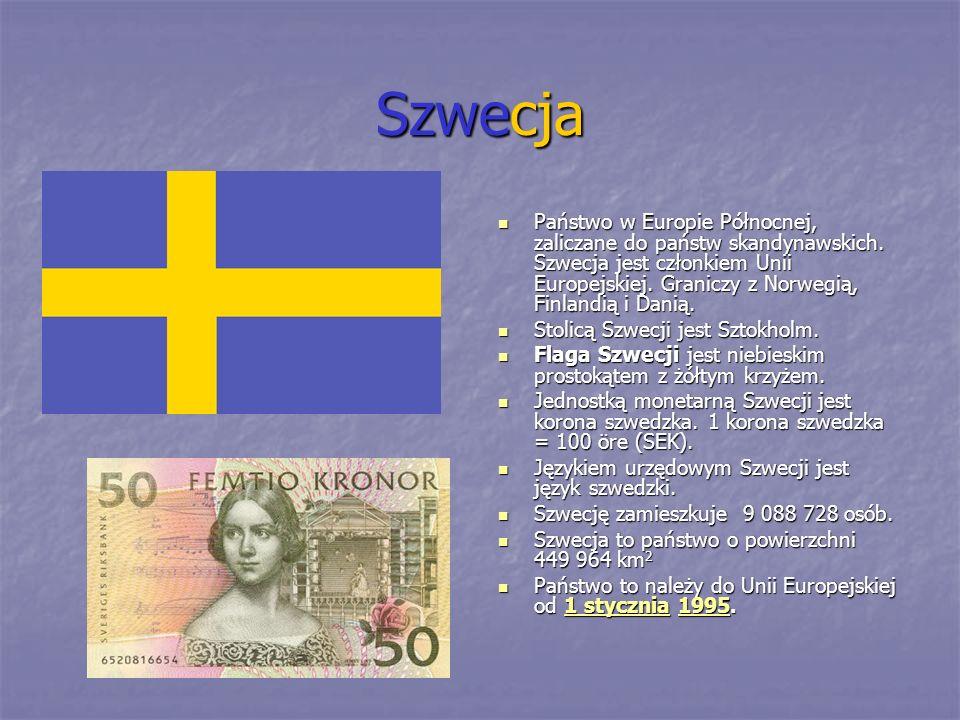 Szwecja Państwo w Europie Północnej, zaliczane do państw skandynawskich. Szwecja jest członkiem Unii Europejskiej. Graniczy z Norwegią, Finlandią i Da