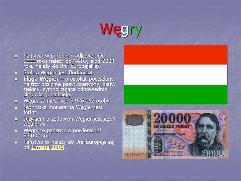 Węgry Państwo w Europie Środkowej. Od 1999 roku należy do NATO, a od 2004 roku należy do Unii Europejskiej. Państwo w Europie Środkowej. Od 1999 roku