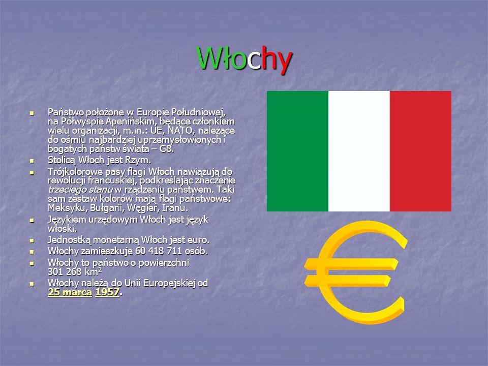 Włochy Państwo położone w Europie Południowej, na Półwyspie Apenińskim, będące członkiem wielu organizacji, m.in.: UE, NATO, należące do ośmiu najbard