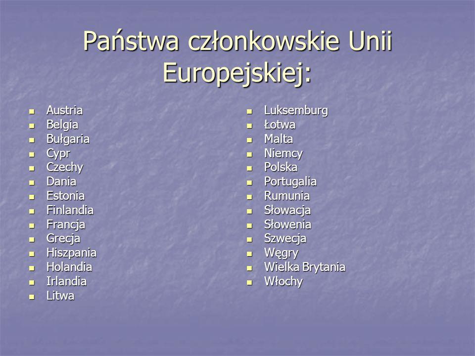 Państwa członkowskie Unii Europejskiej: Austria Austria Belgia Belgia Bułgaria Bułgaria Cypr Cypr Czechy Czechy Dania Dania Estonia Estonia Finlandia