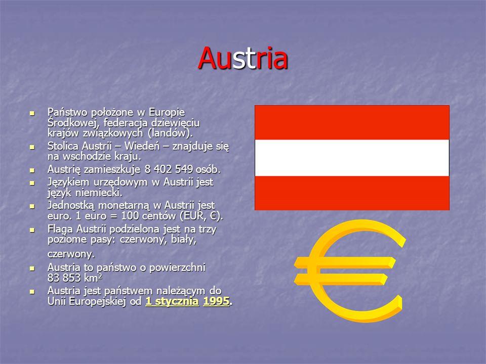 Austria Państwo położone w Europie Środkowej, federacja dziewięciu krajów związkowych (landów). Państwo położone w Europie Środkowej, federacja dziewi