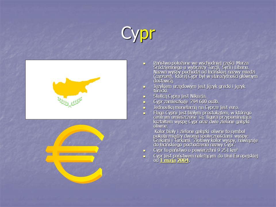 Cypr Państwo położone we wschodniej części Morza Śródziemnego u wybrzeży Turcji, Syrii i Libanu. Nazwa wyspy pochodzi od łacińskiej nazwy miedzi (cupr