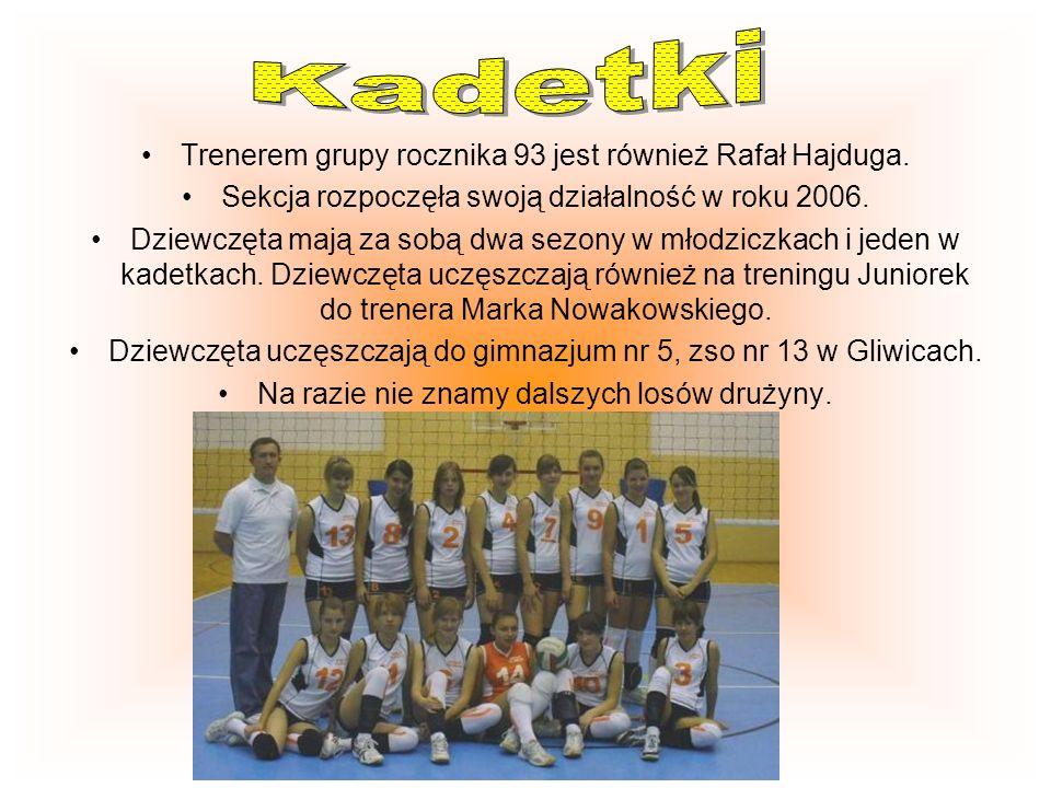 Trenerem Dziewcząt rocznika 94 jest Rafał Hajduga. Dziewczęta uczęszczają do gimnazjum nr 5, zso nr 13 w Gliwicach. Grupa treningowa rozpoczęła swoją