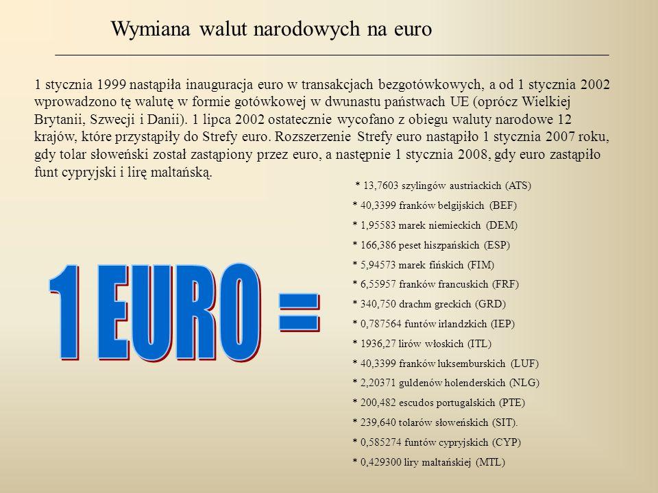 1 stycznia 1999 nastąpiła inauguracja euro w transakcjach bezgotówkowych, a od 1 stycznia 2002 wprowadzono tę walutę w formie gotówkowej w dwunastu pa