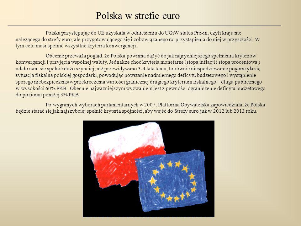 Polska przystępując do UE uzyskała w odniesieniu do UGiW status Pre-in, czyli kraju nie należącego do strefy euro, ale przygotowującego się i zobowiąz