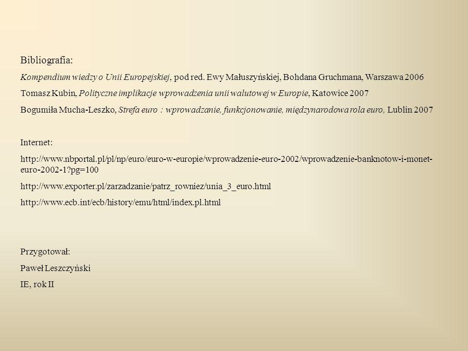 Bibliografia: Kompendium wiedzy o Unii Europejskiej, pod red. Ewy Małuszyńskiej, Bohdana Gruchmana, Warszawa 2006 Tomasz Kubin, Polityczne implikacje