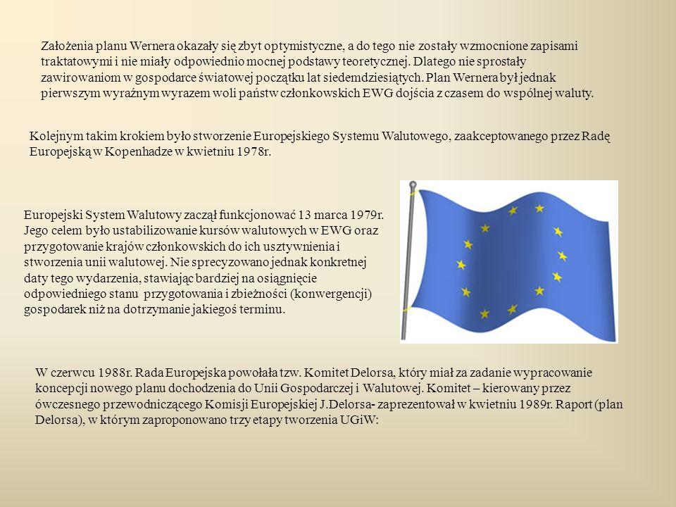 Kolejnym takim krokiem było stworzenie Europejskiego Systemu Walutowego, zaakceptowanego przez Radę Europejską w Kopenhadze w kwietniu 1978r. Europejs