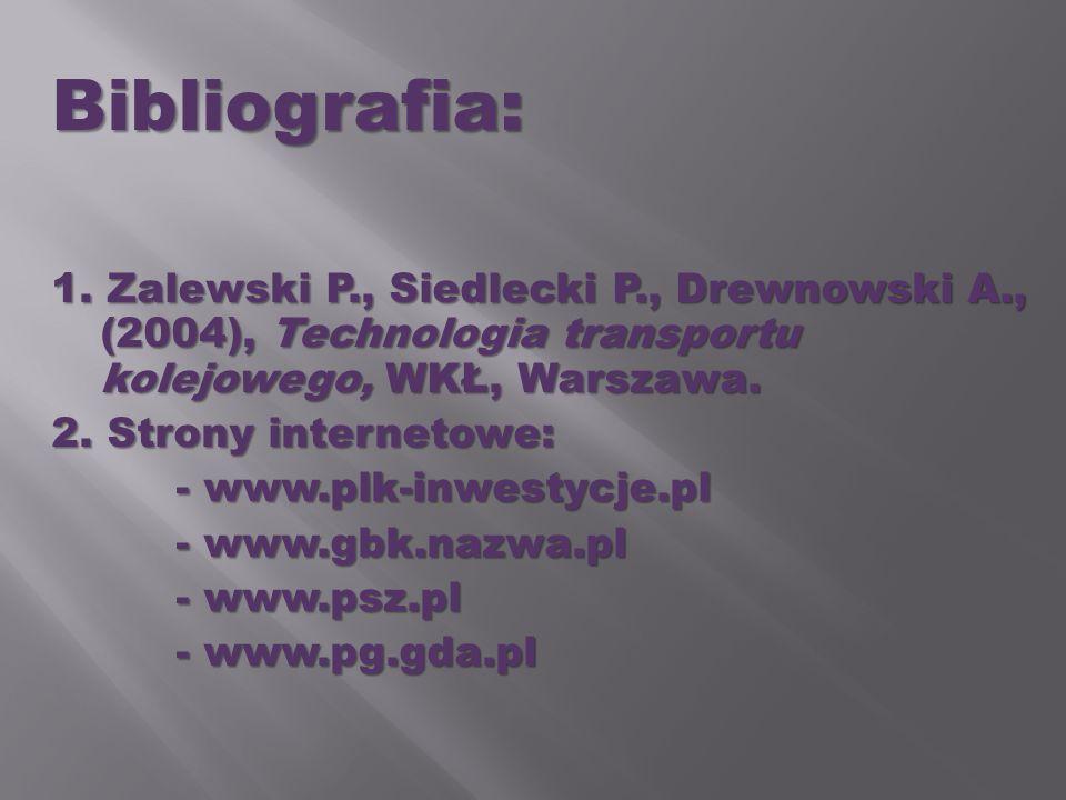 Bibliografia: 1. Zalewski P., Siedlecki P., Drewnowski A., (2004), Technologia transportu kolejowego, WKŁ, Warszawa. 2. Strony internetowe: - www.plk-