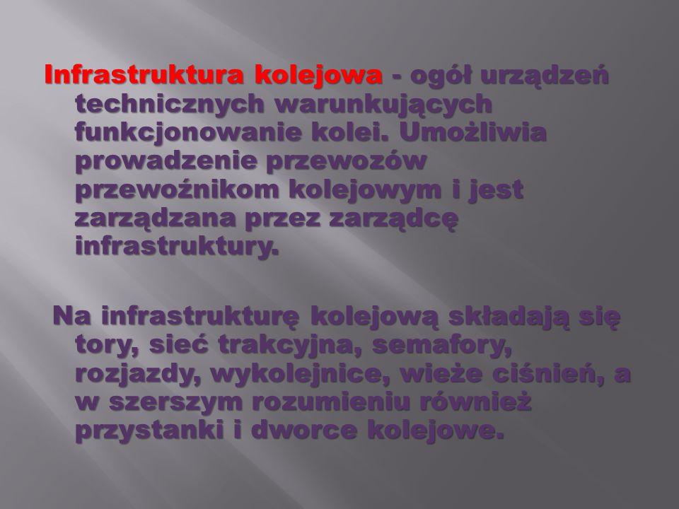 Infrastruktura kolejowa - ogół urządzeń technicznych warunkujących funkcjonowanie kolei. Umożliwia prowadzenie przewozów przewoźnikom kolejowym i jest