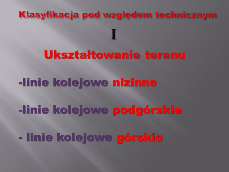 Liczba torów linii kolejowych -linie jednotorowe - linie dwutorowe.