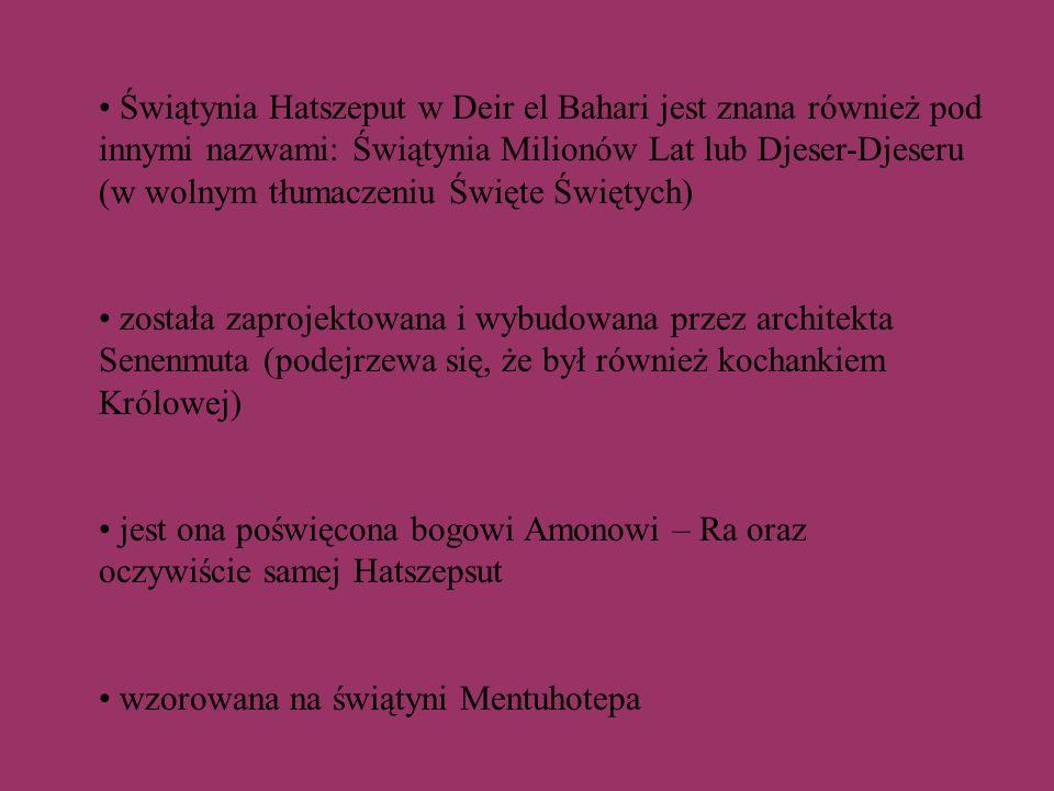TRZECI TARAS przed każdą kolumną stały posągi Hatszepsut jako Ozyrysa.