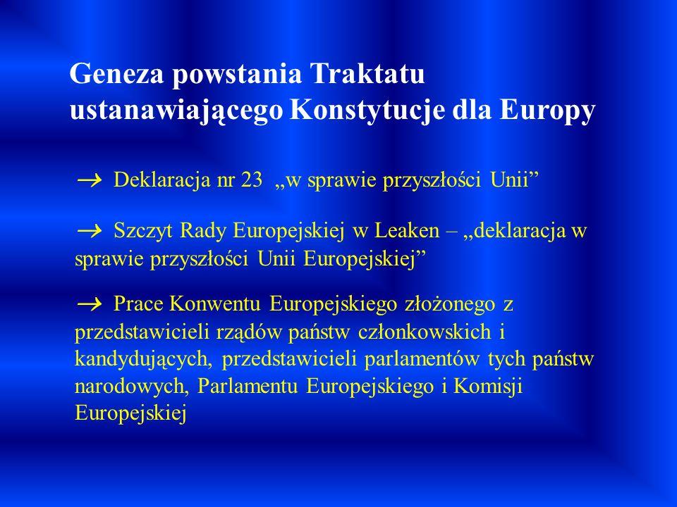 Raport Prezydencji Konwentu Ostateczny wygląd Konstytucji Unii Europejskiej Preambuła (wstęp) część I – niezatytułowana część II – Karta Praw Podstawowych UE opatrzona preambułą część III – Polityka i funkcjonowanie UE część IV – Postanowienia ogólne i końcowe Sala, w której zaaprobowano tekst Konstytucji Europejskiej