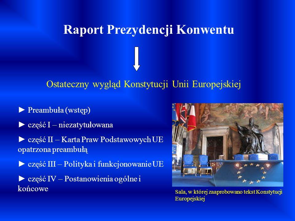Raport Prezydencji Konwentu Ostateczny wygląd Konstytucji Unii Europejskiej Preambuła (wstęp) część I – niezatytułowana część II – Karta Praw Podstawo