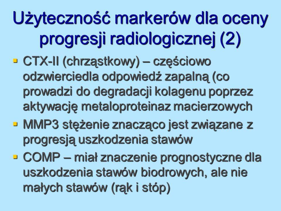 Użyteczność markerów dla oceny progresji radiologicznej (2) CTX-II (chrząstkowy) – częściowo odzwierciedla odpowiedź zapalną (co prowadzi do degradacj