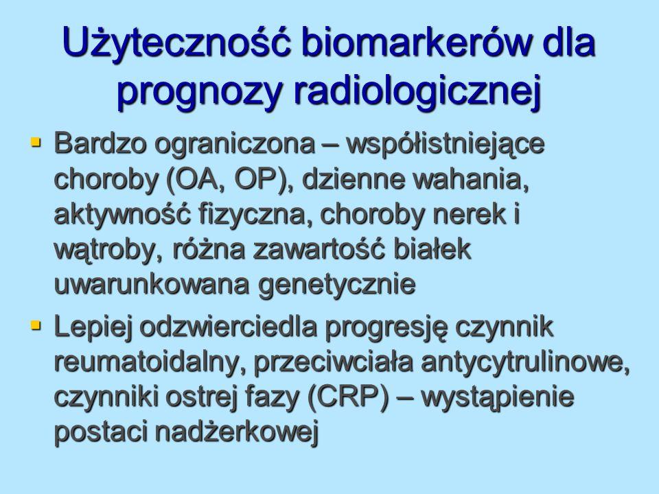 Użyteczność biomarkerów dla prognozy radiologicznej Bardzo ograniczona – współistniejące choroby (OA, OP), dzienne wahania, aktywność fizyczna, chorob