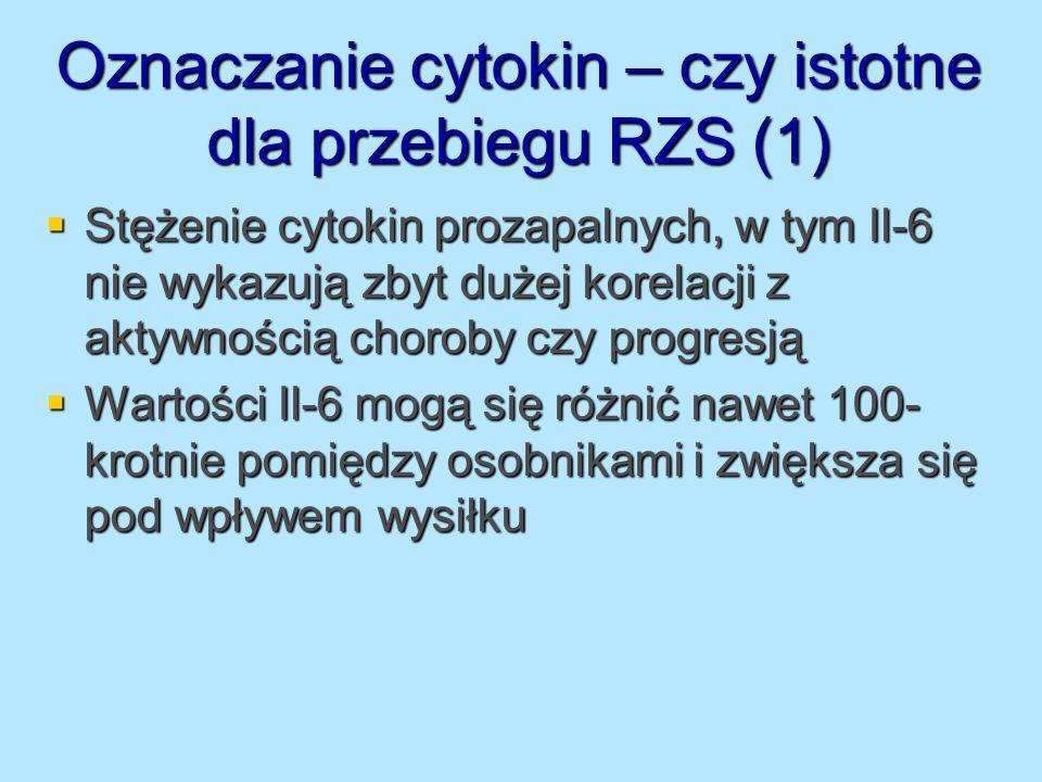 Oznaczanie cytokin – czy istotne dla przebiegu RZS (1) Stężenie cytokin prozapalnych, w tym Il-6 nie wykazują zbyt dużej korelacji z aktywnością choro