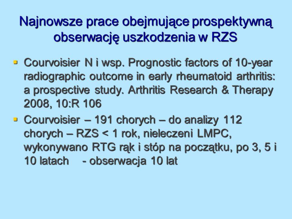 Najnowsze prace obejmujące prospektywną obserwację uszkodzenia w RZS Courvoisier N i wsp. Prognostic factors of 10-year radiographic outcome in early