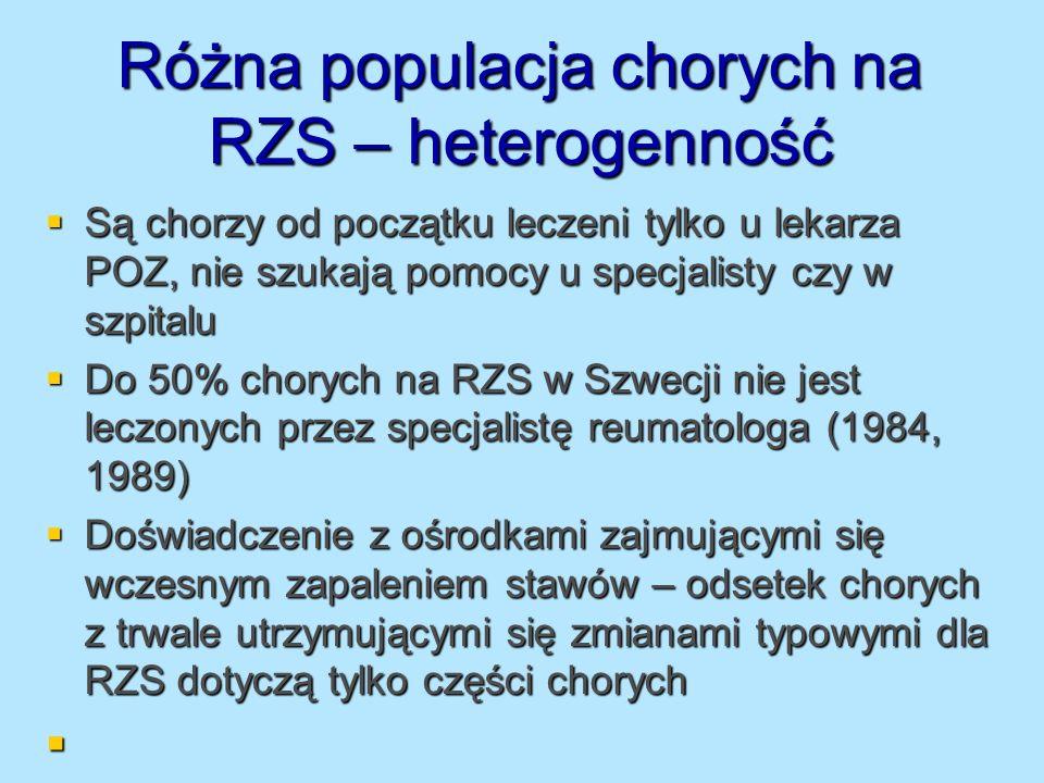 Różna populacja chorych na RZS – heterogenność Są chorzy od początku leczeni tylko u lekarza POZ, nie szukają pomocy u specjalisty czy w szpitalu Są c