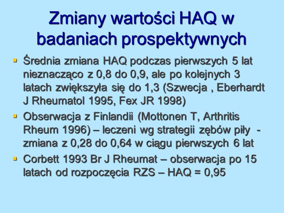 Zmiany wartości HAQ w badaniach prospektywnych Średnia zmiana HAQ podczas pierwszych 5 lat nieznacząco z 0,8 do 0,9, ale po kolejnych 3 latach zwiększ
