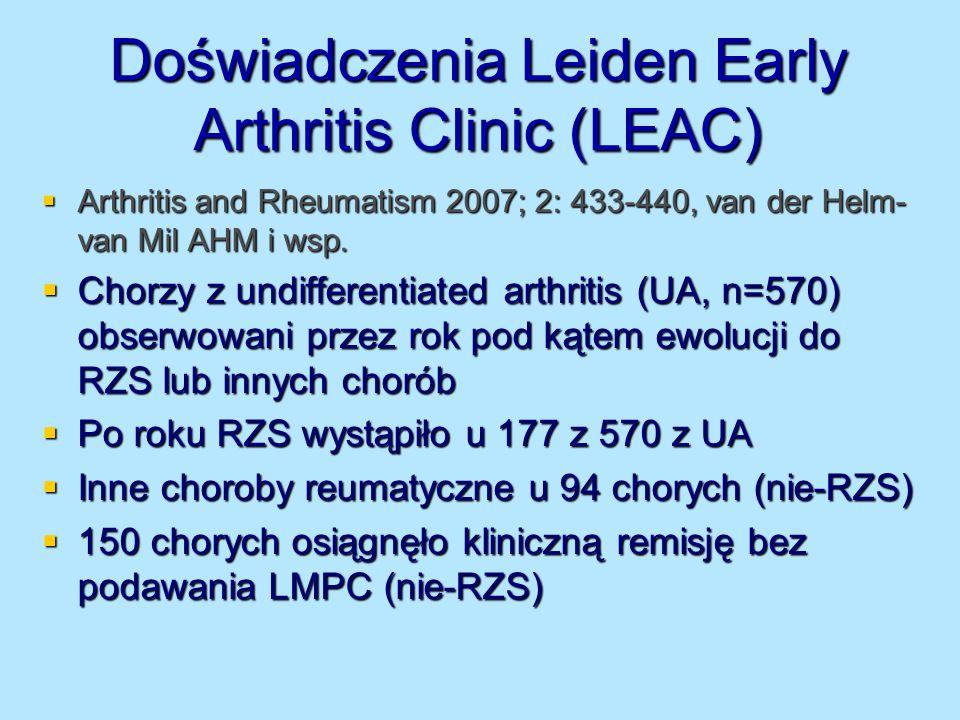 Podawanie LMPC w RZS a incydenty naczyniowe 15-letnia obserwacja 606 chorych (80% brało przynajmniej 1 LMPC) grupa leczona - zmniejszona śmiertelność 15-letnia obserwacja 606 chorych (80% brało przynajmniej 1 LMPC) grupa leczona - zmniejszona śmiertelność Intensywność leczenia we wczesnej fazie RZS ma duże znaczenie (dane z Holandii i W.