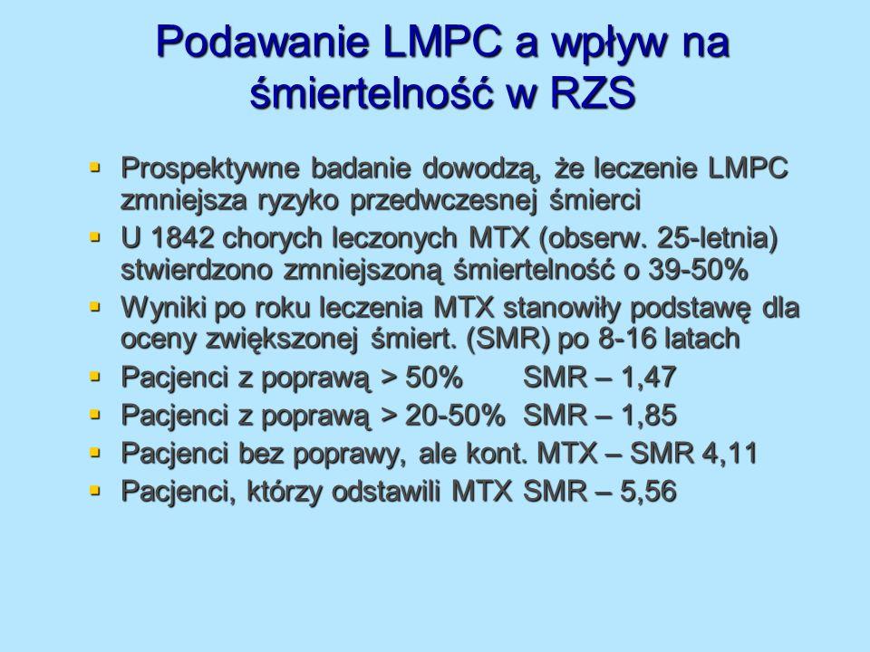 Podawanie LMPC a wpływ na śmiertelność w RZS Prospektywne badanie dowodzą, że leczenie LMPC zmniejsza ryzyko przedwczesnej śmierci Prospektywne badani