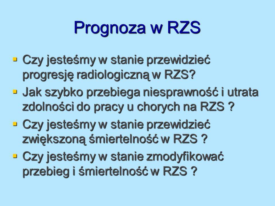 Obserwacje chorych na RZS w aspekcie śmiertelności (1) 210 chorych na RZS, po 5 latach 37 zmarło, 169 powtórnie oceniono dla oceny czynników prognostycznych 210 chorych na RZS, po 5 latach 37 zmarło, 169 powtórnie oceniono dla oceny czynników prognostycznych W analizie wielowariantowej najbardziej prognostycznymi czynnikami okazały się : W analizie wielowariantowej najbardziej prognostycznymi czynnikami okazały się : Wiek Wiek Współistniejące choroby Współistniejące choroby Wskaźnik MHAQ Wskaźnik MHAQ Callahan LF Arthritis Care Research 1997;381-94 Callahan LF Arthritis Care Research 1997;381-94