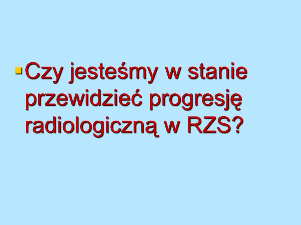 Progresja radiologiczna Większość badań odnosi się do wpływu leków na progresję radiologiczną Większość badań odnosi się do wpływu leków na progresję radiologiczną Czy nastąpiły zmiany w różnych dziesięcioleciach w narastaniu ciężkości RZS Czy nastąpiły zmiany w różnych dziesięcioleciach w narastaniu ciężkości RZS Heikkila Isomaki (Scand J Rheum, 1989;23:13-15) Heikkila Isomaki (Scand J Rheum, 1989;23:13-15) Porównywano radiogramy rąk i stóp chorych przyjętych do szpitala w odstępach 10-letnich od 1962 roku Porównywano radiogramy rąk i stóp chorych przyjętych do szpitala w odstępach 10-letnich od 1962 roku