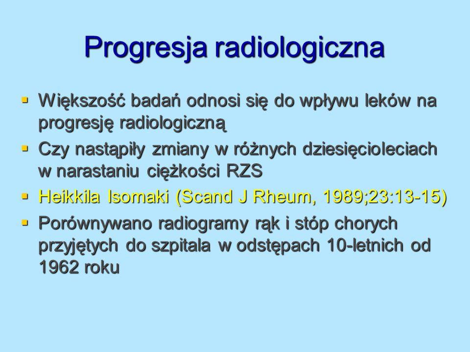 Progresja radiologiczna Heikkila Isomaki (Scand J Rheum, 1989;23:13-15) Heikkila Isomaki (Scand J Rheum, 1989;23:13-15) Oceniano tylko kobiety 45-64 lat, seropozytywni i czas trwania choroby 10-15 lat przez 3 dekady Oceniano tylko kobiety 45-64 lat, seropozytywni i czas trwania choroby 10-15 lat przez 3 dekady Analizowano liczbę niezajętych stawów : Analizowano liczbę niezajętych stawów : Stawy MCP, PIP – zwiększyła się od 53,5% do 70,4% Stawy MCP, PIP – zwiększyła się od 53,5% do 70,4% Stawy nadgarstkowe – zwiększyła się od 14 do 29% Stawy nadgarstkowe – zwiększyła się od 14 do 29% Stawy stóp – zwiększyła się od 29,8% do 40,0% Stawy stóp – zwiększyła się od 29,8% do 40,0% RZS może przybierać łagodniejszą formę, jest częściej rozpoznawany w łagodniejszych przypadkach, leczenie modyfikujące jest włączane szybciej RZS może przybierać łagodniejszą formę, jest częściej rozpoznawany w łagodniejszych przypadkach, leczenie modyfikujące jest włączane szybciej