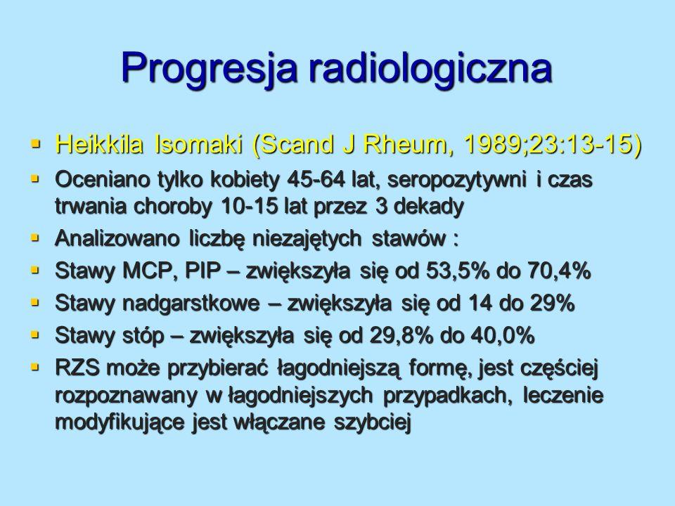Potencjalne czynniki prognozujące postęp radiologiczny Zmiany w metabolizmie chrząstki – odpowiada zwężeniu stawu – kolagen typu II, (pyridinoline, CTX-II, NTX-II), białka niekolagenowe (COMP) Zmiany w metabolizmie chrząstki – odpowiada zwężeniu stawu – kolagen typu II, (pyridinoline, CTX-II, NTX-II), białka niekolagenowe (COMP) Zmiany w metabolizmie kości – nadżerki – kolagen typu I (pyridinoline, CTX-I, NTX-I) i białka niekolagenowe (BSP, bone sialoprotein, TRAP – kwaśna fosfataza) Zmiany w metabolizmie kości – nadżerki – kolagen typu I (pyridinoline, CTX-I, NTX-I) i białka niekolagenowe (BSP, bone sialoprotein, TRAP – kwaśna fosfataza) RANKL-osteoklast, OPG – hamuje, wzór OPG/RANKL – znamionuje progresję radiologiczną – duża wartość RANKL RANKL-osteoklast, OPG – hamuje, wzór OPG/RANKL – znamionuje progresję radiologiczną – duża wartość RANKL