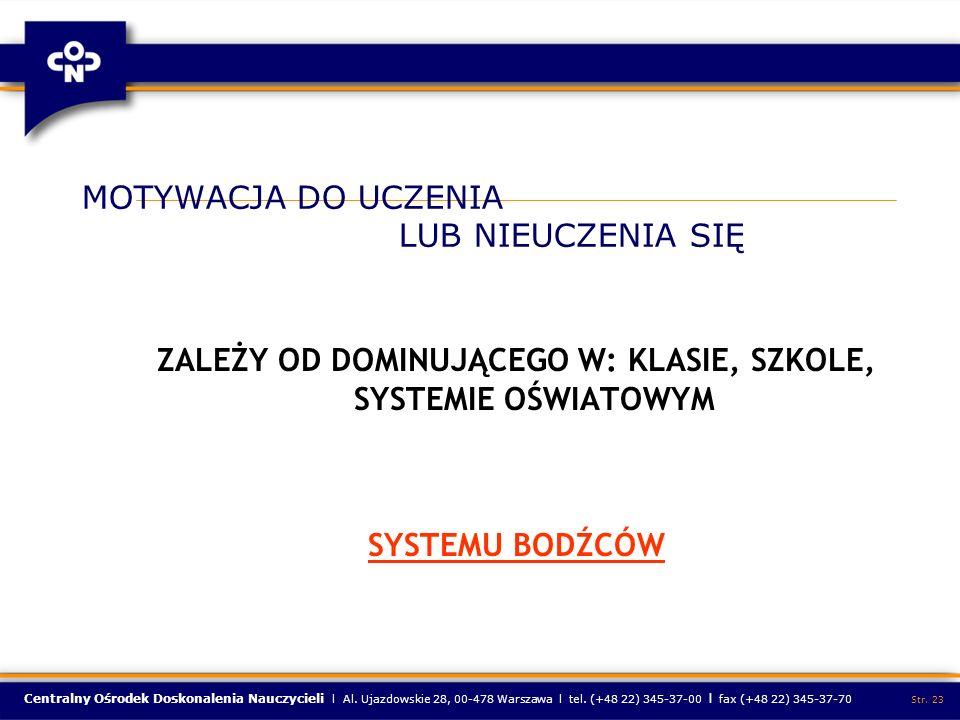 Centralny Ośrodek Doskonalenia Nauczycieli l Al. Ujazdowskie 28, 00-478 Warszawa l tel. (+48 22) 345-37-00 l fax (+48 22) 345-37-70 Str. 23 MOTYWACJA