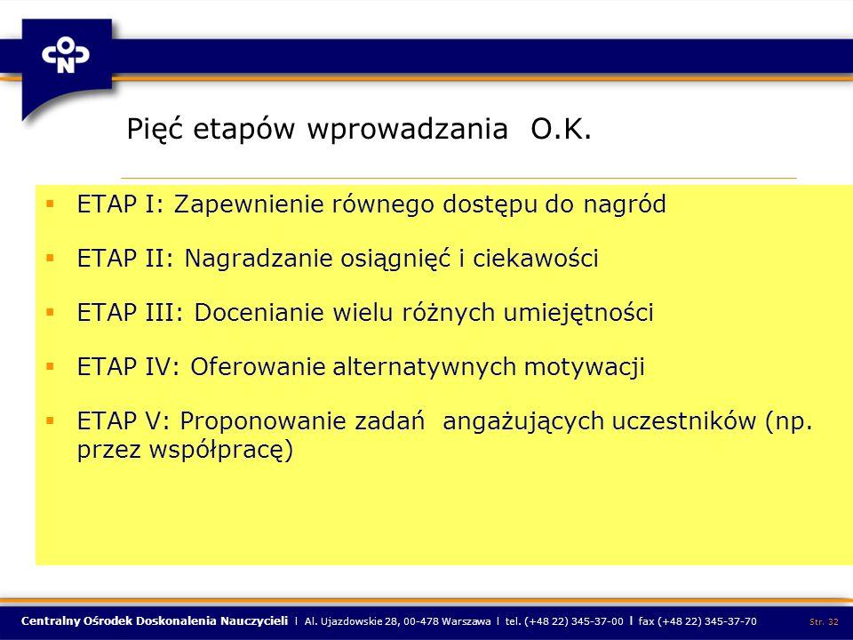 Centralny Ośrodek Doskonalenia Nauczycieli l Al. Ujazdowskie 28, 00-478 Warszawa l tel. (+48 22) 345-37-00 l fax (+48 22) 345-37-70 Str. 32 Pięć etapó