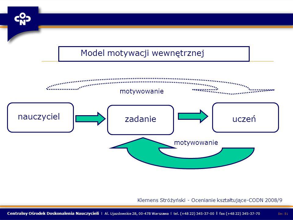 Centralny Ośrodek Doskonalenia Nauczycieli l Al. Ujazdowskie 28, 00-478 Warszawa l tel. (+48 22) 345-37-00 l fax (+48 22) 345-37-70 Str. 51 Model moty