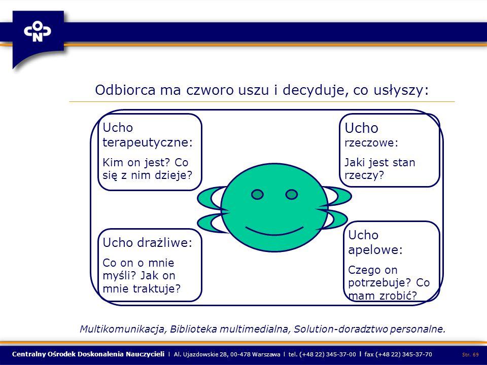 Centralny Ośrodek Doskonalenia Nauczycieli l Al. Ujazdowskie 28, 00-478 Warszawa l tel. (+48 22) 345-37-00 l fax (+48 22) 345-37-70 Str. 69 Ucho terap