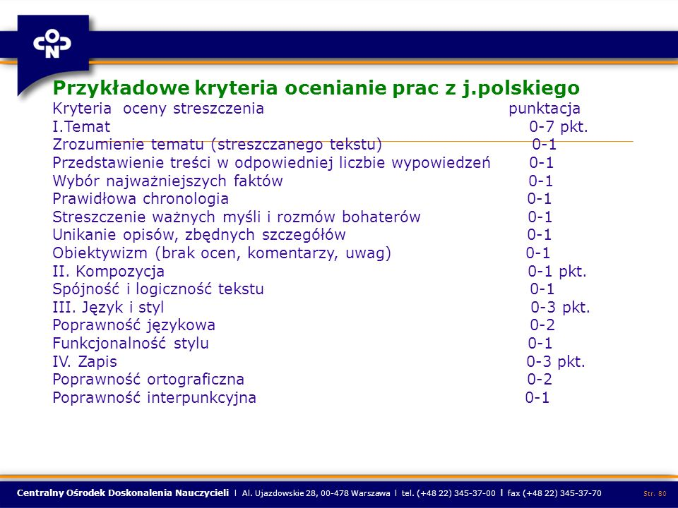 Centralny Ośrodek Doskonalenia Nauczycieli l Al. Ujazdowskie 28, 00-478 Warszawa l tel. (+48 22) 345-37-00 l fax (+48 22) 345-37-70 Str. 80 Przykładow