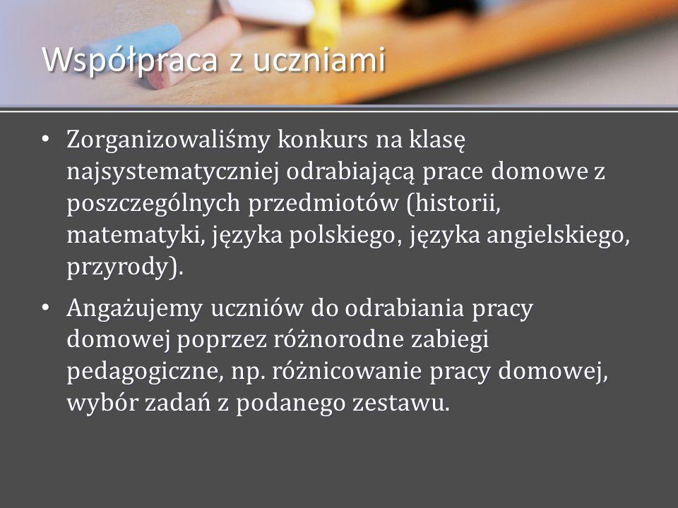 Zorganizowaliśmy konkurs na klasę najsystematyczniej odrabiającą prace domowe z poszczególnych przedmiotów (historii, matematyki, języka polskiego, ję