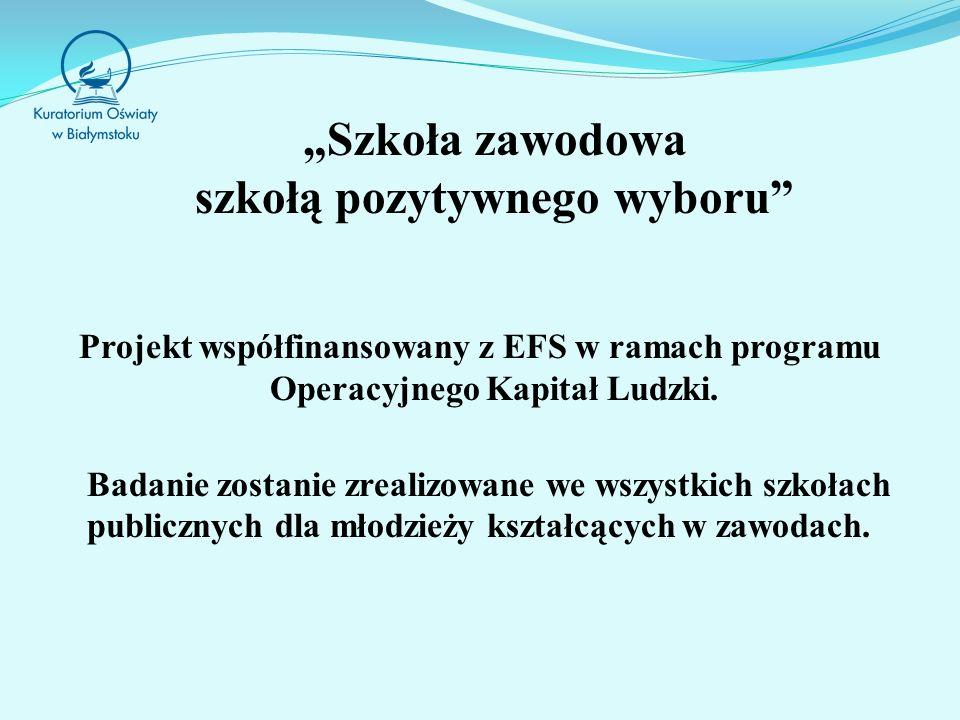 Szkoła zawodowa szkołą pozytywnego wyboru Projekt współfinansowany z EFS w ramach programu Operacyjnego Kapitał Ludzki.