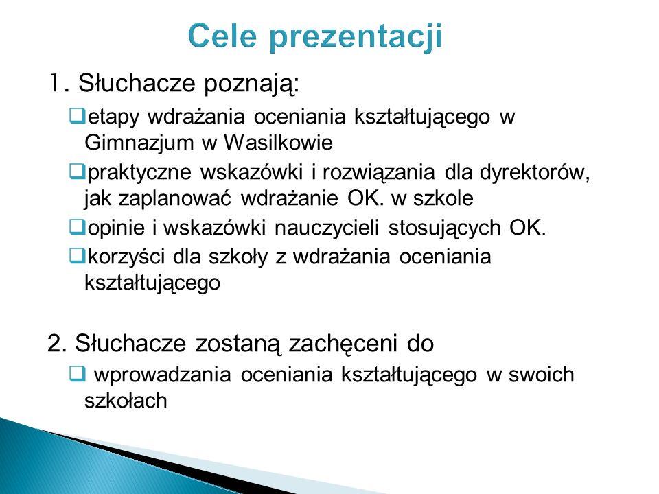 1. Słuchacze poznają: etapy wdrażania oceniania kształtującego w Gimnazjum w Wasilkowie praktyczne wskazówki i rozwiązania dla dyrektorów, jak zaplano