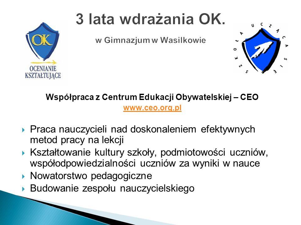 Współpraca z Centrum Edukacji Obywatelskiej – CEO www.ceo.org.pl Praca nauczycieli nad doskonaleniem efektywnych metod pracy na lekcji Kształtowanie k
