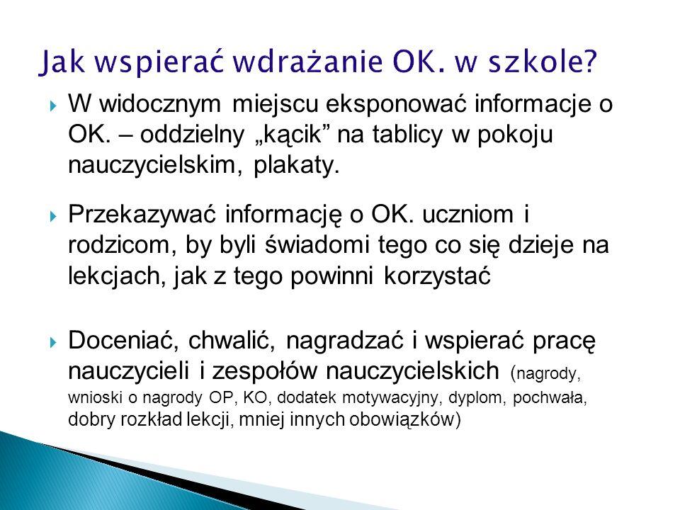W widocznym miejscu eksponować informacje o OK. – oddzielny kącik na tablicy w pokoju nauczycielskim, plakaty. Przekazywać informację o OK. uczniom i