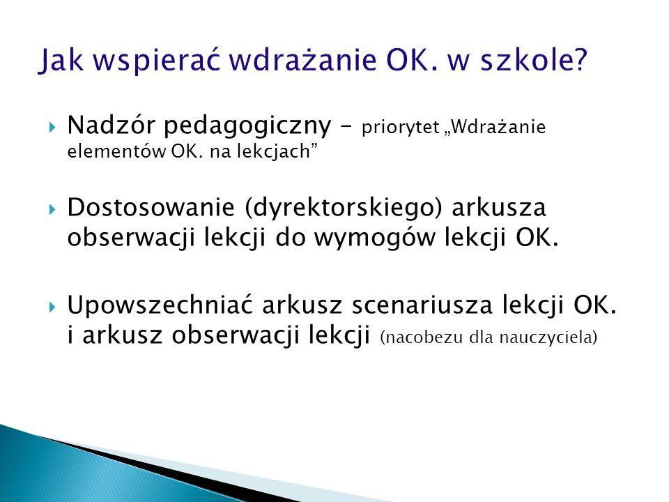 Nadzór pedagogiczny – priorytet Wdrażanie elementów OK. na lekcjach Dostosowanie (dyrektorskiego) arkusza obserwacji lekcji do wymogów lekcji OK. Upow