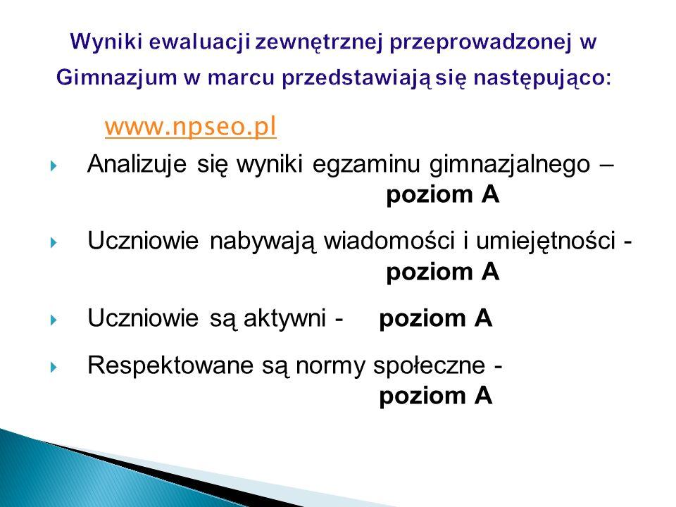 www.npseo.pl Analizuje się wyniki egzaminu gimnazjalnego – poziom A Uczniowie nabywają wiadomości i umiejętności - poziom A Uczniowie są aktywni - poz