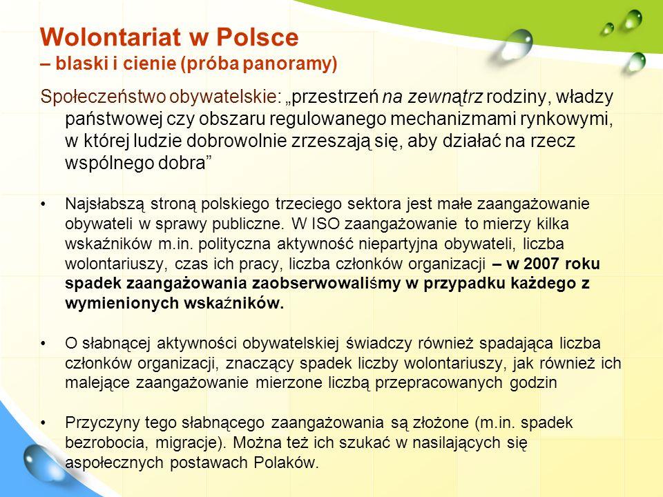 Wolontariat w Polsce – blaski i cienie (próba panoramy) Społeczeństwo obywatelskie: przestrzeń na zewnątrz rodziny, władzy państwowej czy obszaru regu