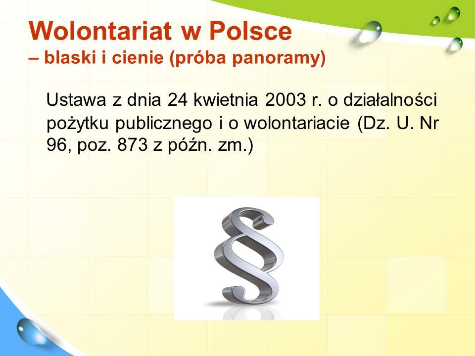 Wolontariat w Polsce – blaski i cienie (próba panoramy) Kim są.